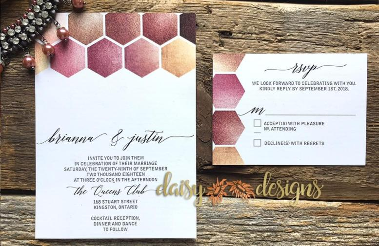 Rose Gold Honeycomb invite and rsvp