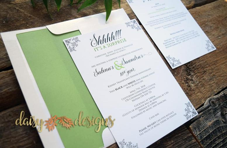 Apple Green Surprise invite suite