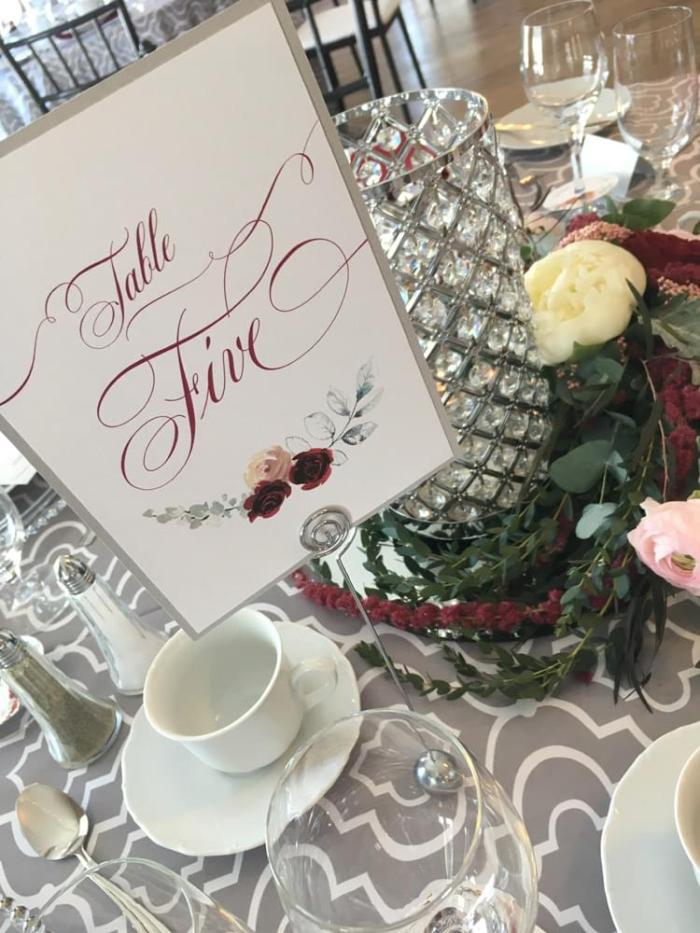 Scarlet and Silver table number card
