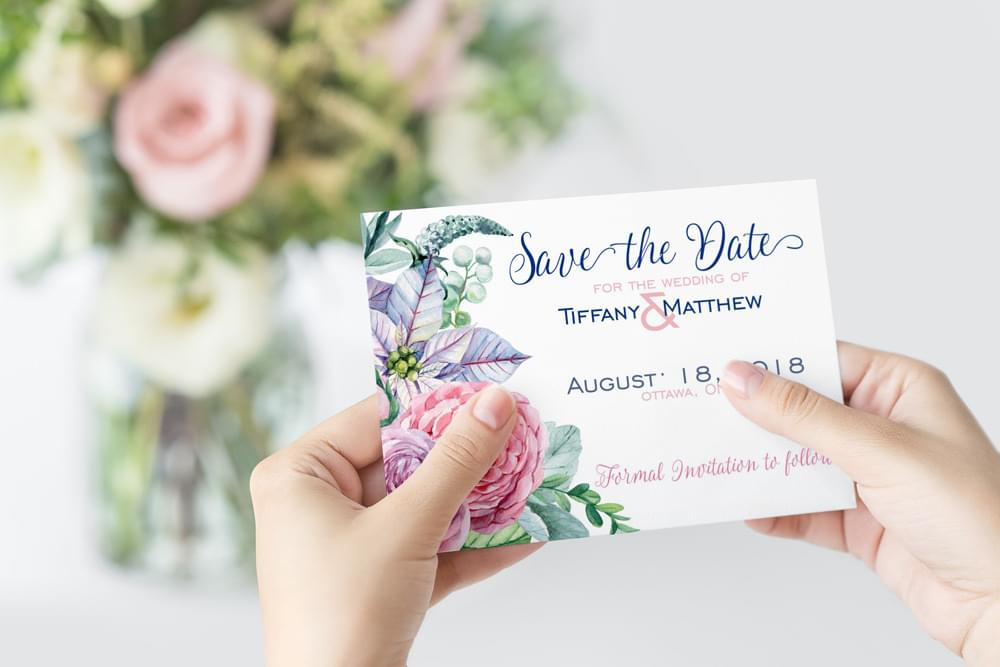 Peonies Save-The-Date card