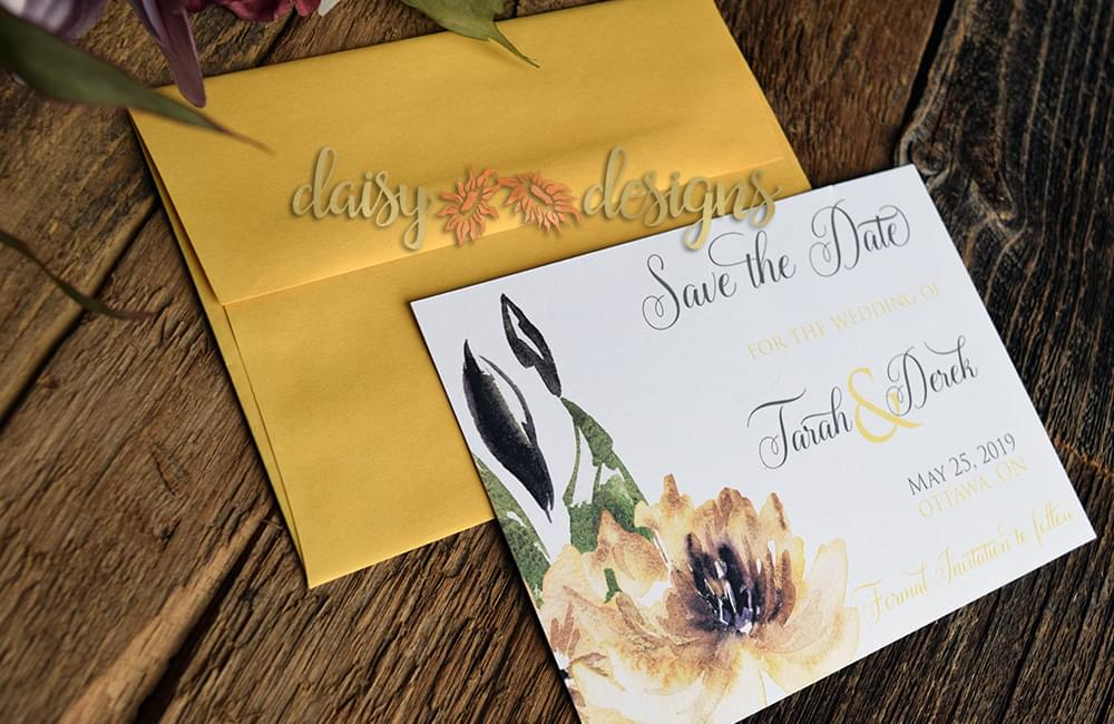 Waterlily Ochre save the date cards