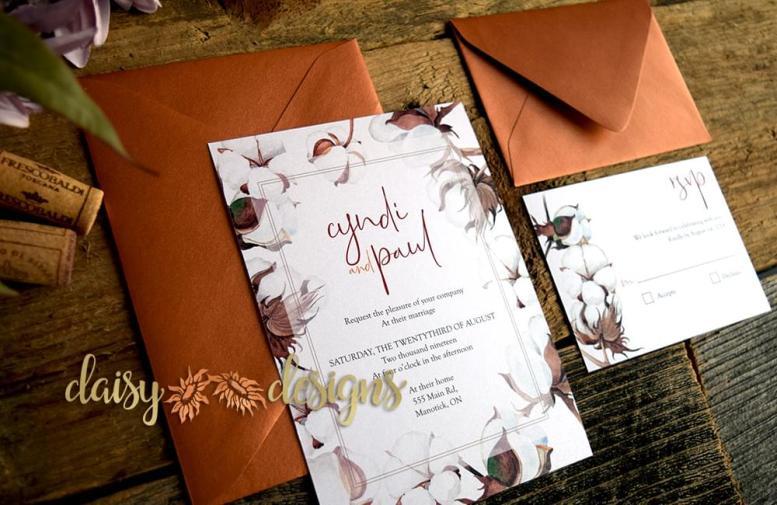 Cotton 'n Copper invite suite with copper envelopes