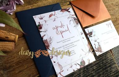 Cotton 'n Copper invite with blue envelope