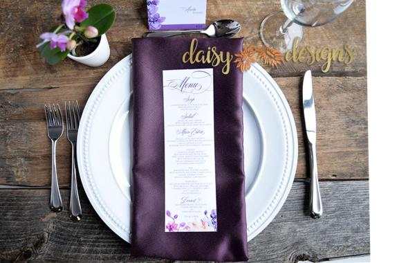 Orchids menu on place setting