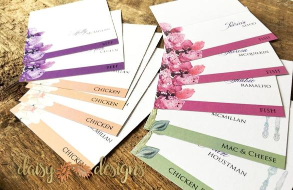 Orchids seating cards flat