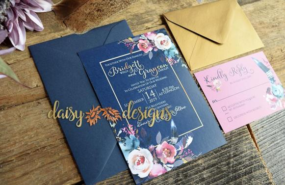 Pretty in Pink invite with envelope