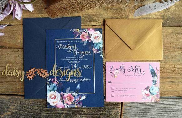 Pretty in Pink invite and rsvp with coloured envelopes