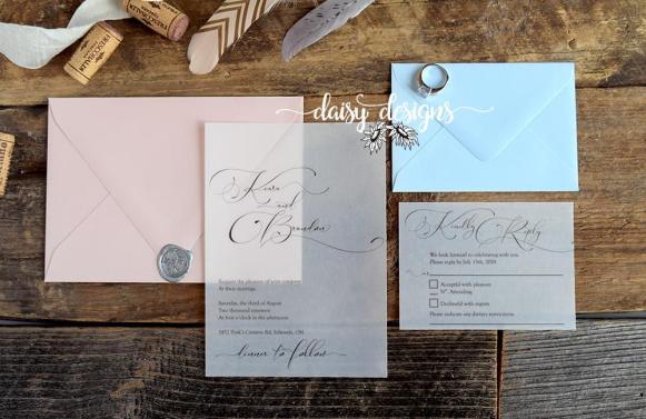 Simply Sophia invite on vellum with blush invite envelope and blue rsvp envelope