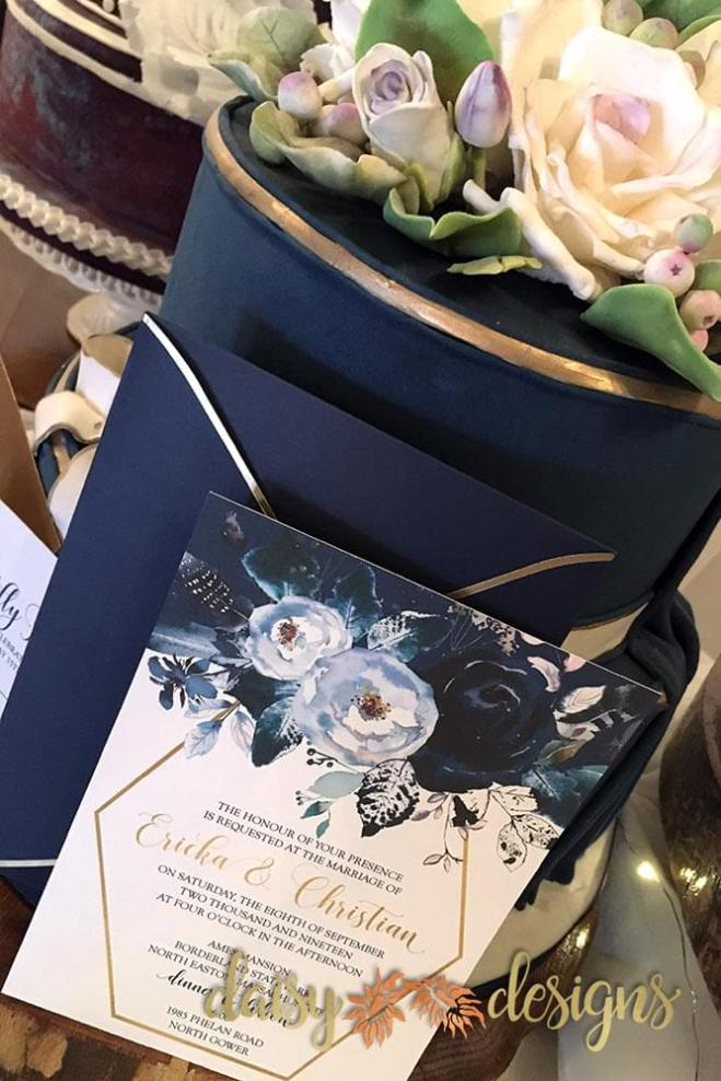 Creamy Peonies - invite with blue and gold envelope