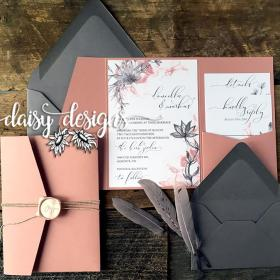Dusty Rose Grey Feather full suite