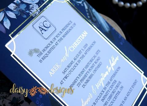 Navy Peonies Foil invite close up
