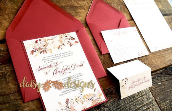 Cranberry and Cream invite suite