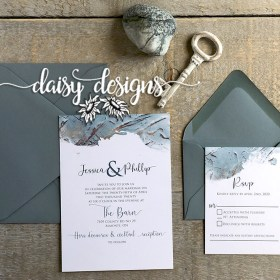 Dusty Blue Modern Paint - invite suite