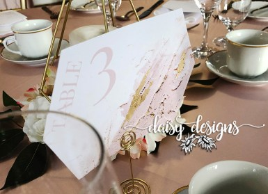 Blush and Gold Modern Paint - table number