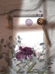 Moody Mauve Rose wedding table number