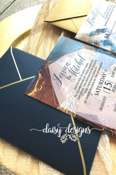 Navy Gold Marble invite closeup