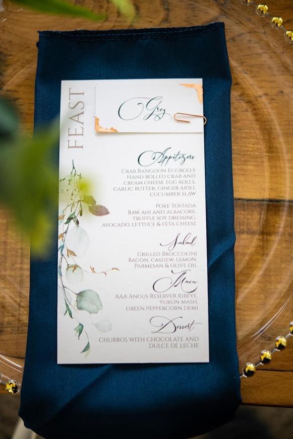 Pistachio Passion table menu