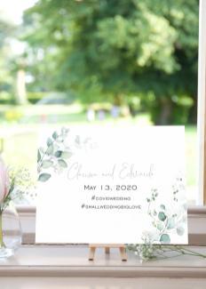 Watercolour Eucalyptus sign Clarissa and Edwardo - May 13, 2020 #covidwedding