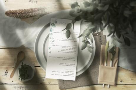 Watercolour Eucalyptus menu on plate