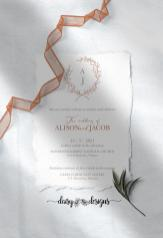 Victorian Simplicity invite with torn edges