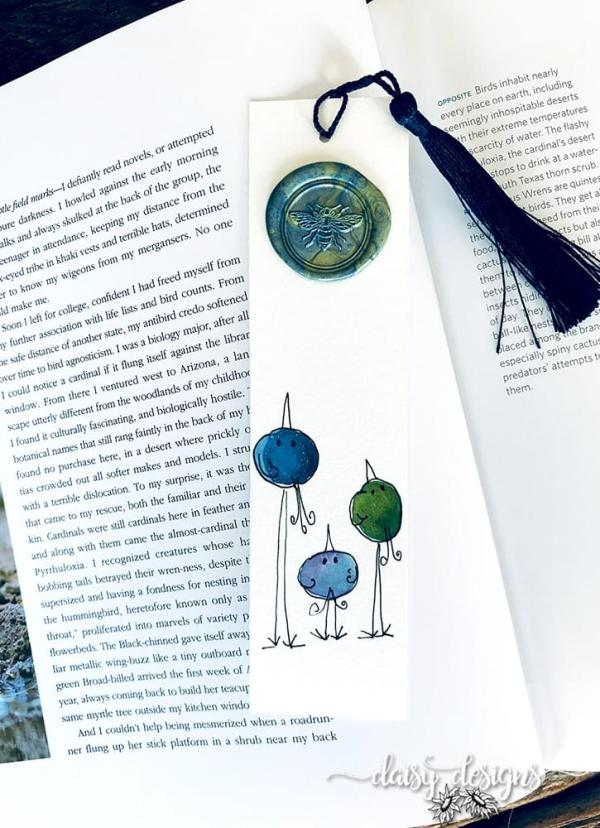 Three Birds bookmark - Blue
