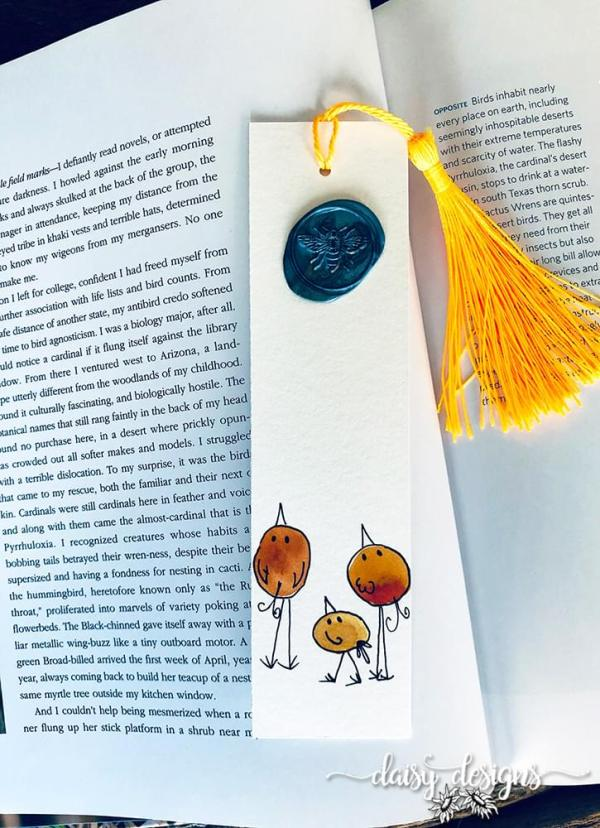 Three Birds bookmark - Orange