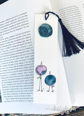 Two Birds bookmark - Blue