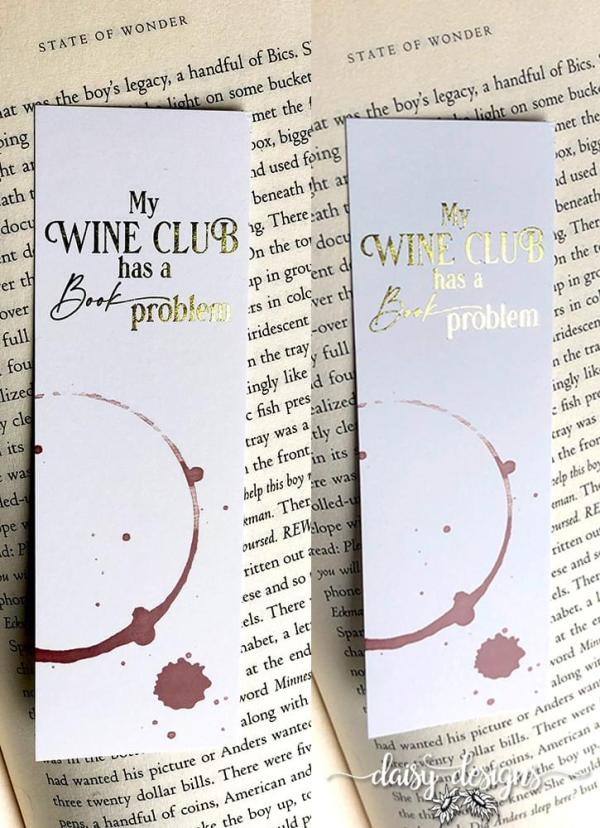 Wine Club bookmarks showing gold foil