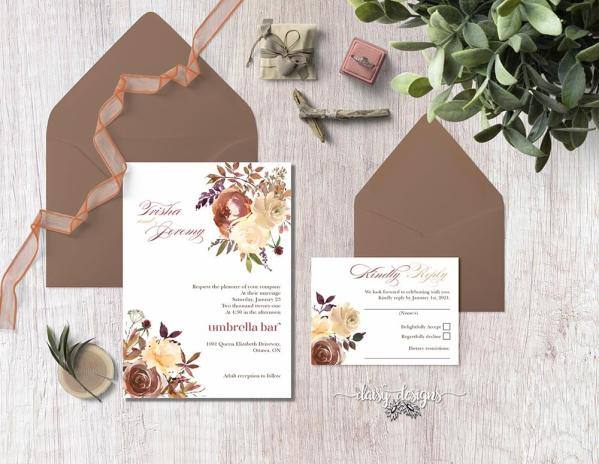 DIY Printable - Boho Romance full suite with coloured envelopes and ribbon