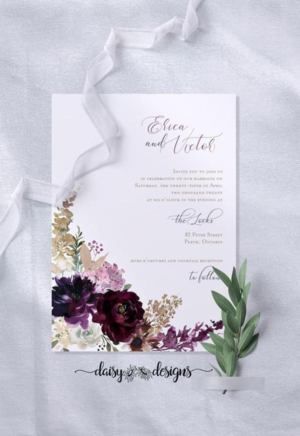 DIY Printable - Deep Burgundy Florals - invite only with ribbon