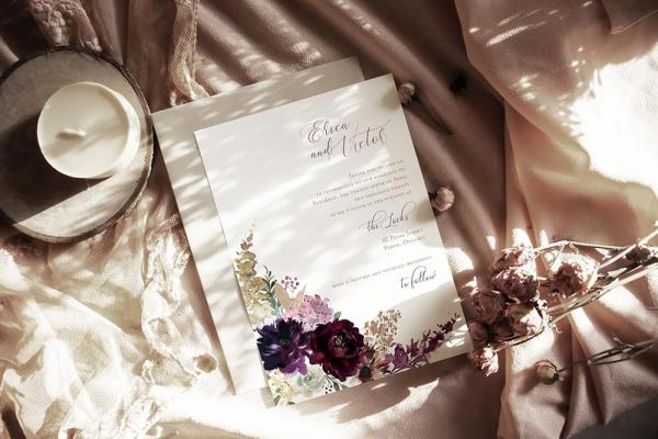 DIY Printable - Deep Burgundy Florals - invite and envelope