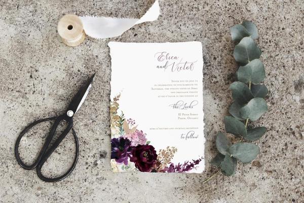 DIY Printable - Deep Burgundy Florals - invite with torn edges shown beside scissors