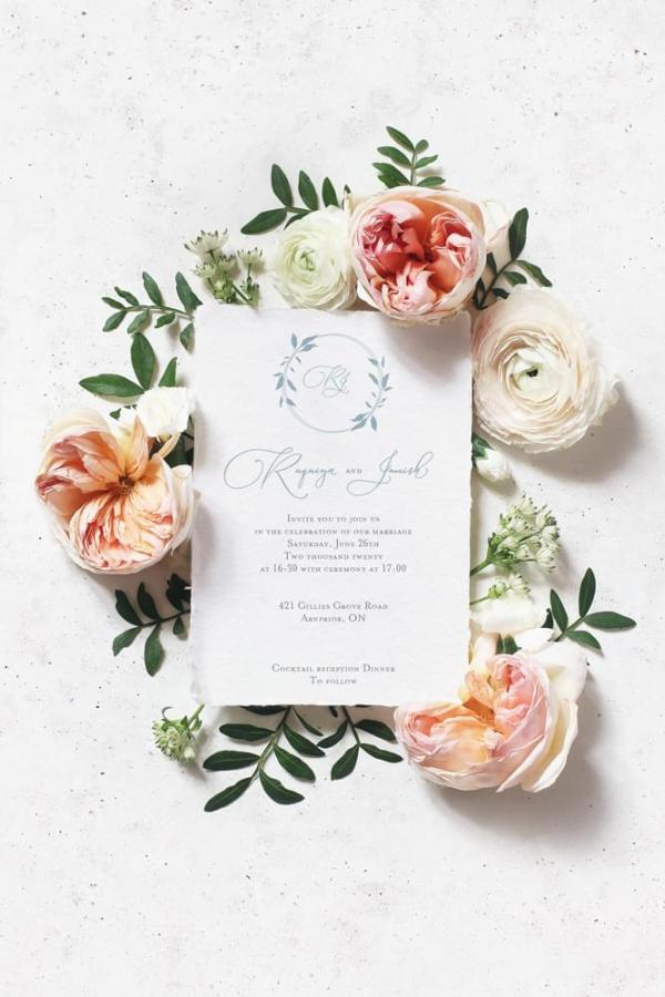 DIY Printable - Dusty Blue Monogram invite with torn edges surrounded by flowers