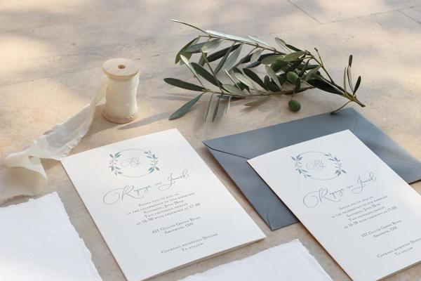 DIY Printable - Dusty Blue Monogram invites with dark blue envelope