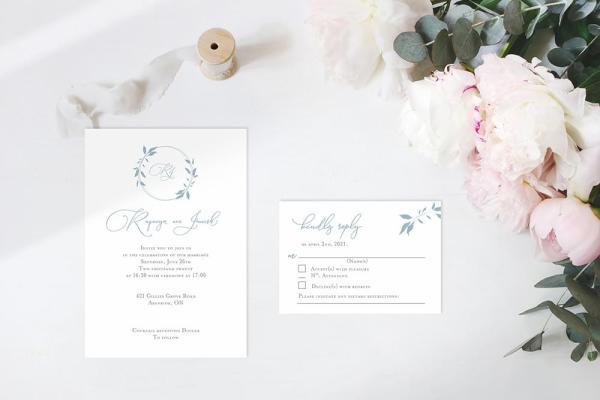 DIY Printable - Dusty Blue Monogram invite and rsvp