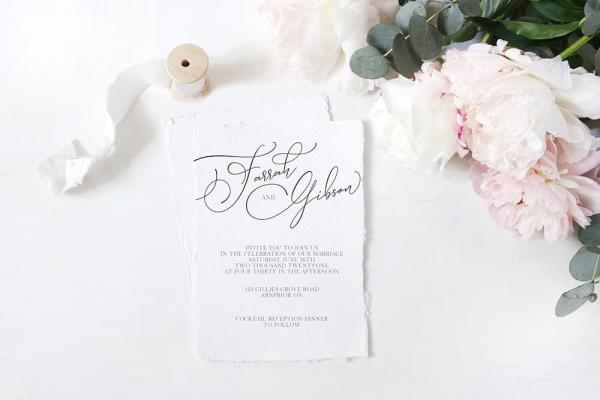 DIY Printable - Modern Two invite with torn edges