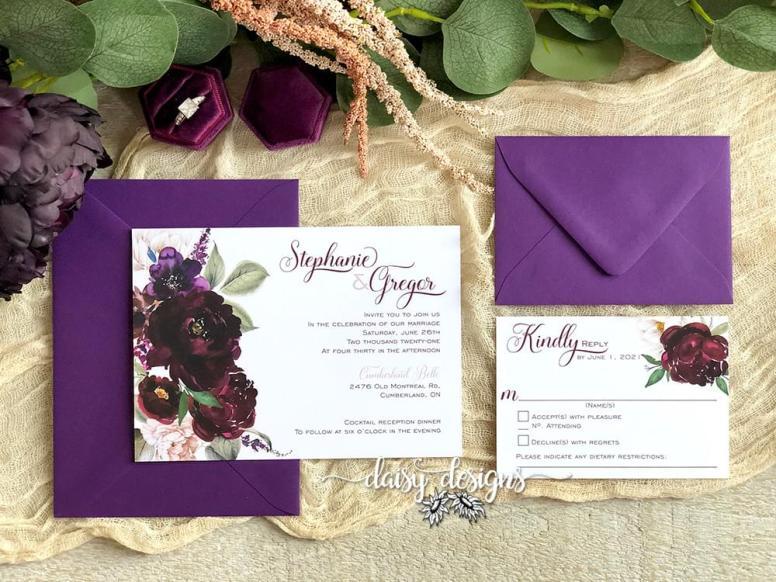 Sangria wedding invite suite with vino envelopes