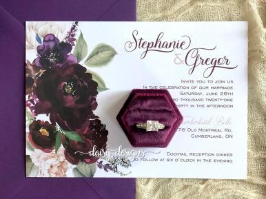 Sangria wedding invite with vino envelope