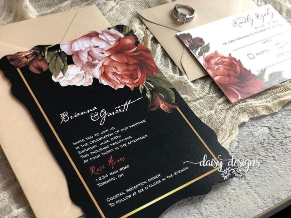 Victorian Ginger wedding invitation suite with harvest envelopes