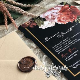 Victorian Ginger wedding invitation closeup with wax seal