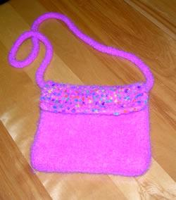 pink purse after felting