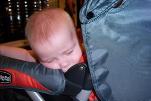 Sean sleeping in the stroller