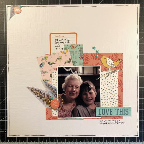 Scrapbook layout of Sean and Grammy