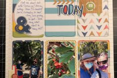 Scrapbook layout of Gwen, Sean, and friends cherry picking