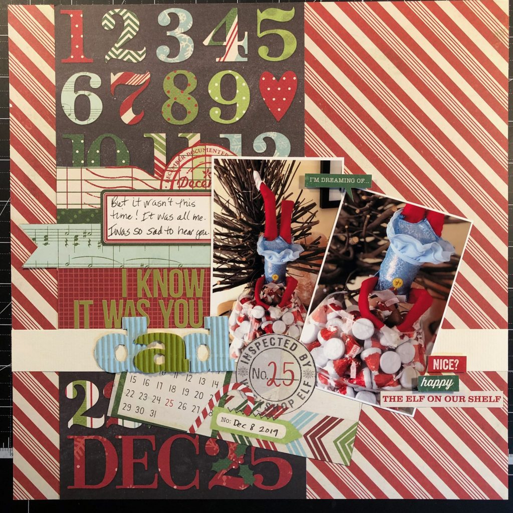 scrapbook layout of our elf on the shelf Sprinkle.