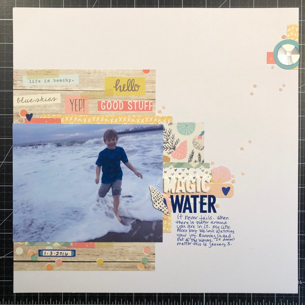 scrapbook layout of Sean in the pacific ocean