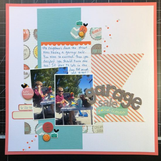 scrapbook layout of Sean having a garage sale.