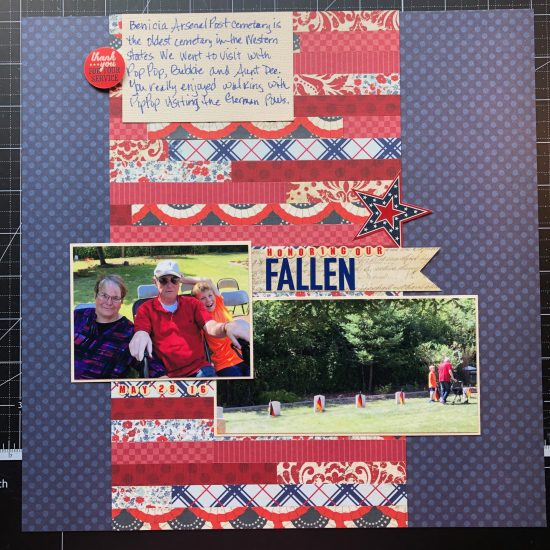 Scrapbook layout about my dad, aunt, and Sean at the Benicia Arsenal Post Cemetary