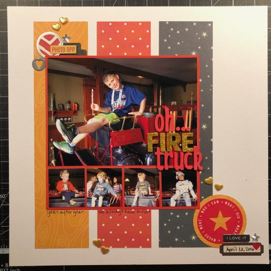 Scrapbook layout of Sean on the fire truck at Disneyland