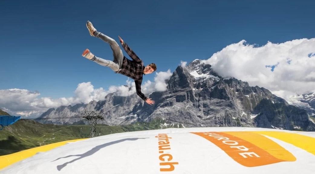 first bag jump, First, 菲斯特, 少女峰區, 瑞士纜車, 卡丁車, 高空飛索, 滑板自行車, Grindelwald, 格林德瓦, 瑞士自助
